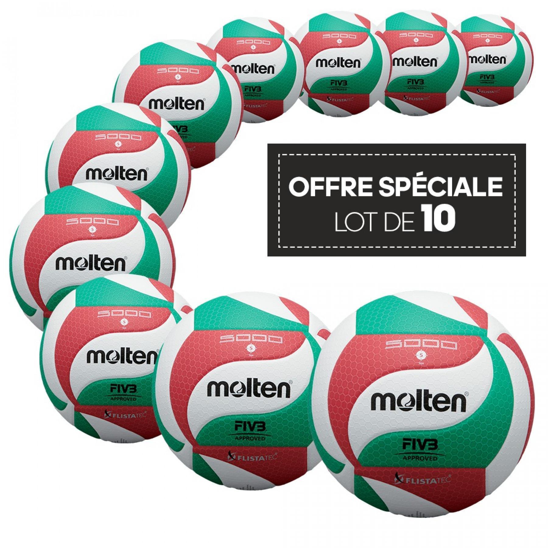 Lot de 10 ballons de compétition Molten V5M5000 LNV